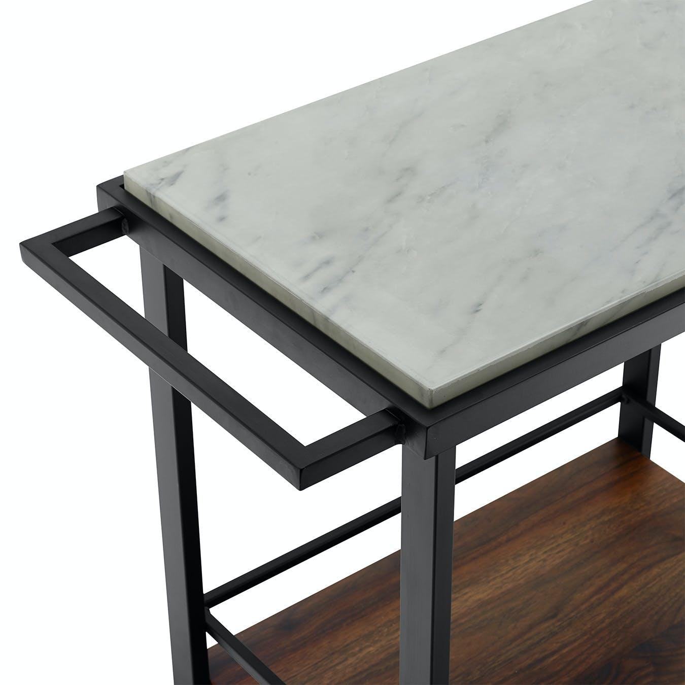 Modern Industrial Bar Serving Cart White Marble Dark Walnut By Edie Editions Fy