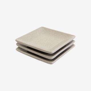 La Marsa Condiment Square Dishes - Muslin - Set of 3