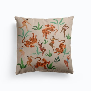 Dancing With Tiger Canvas Cushion
