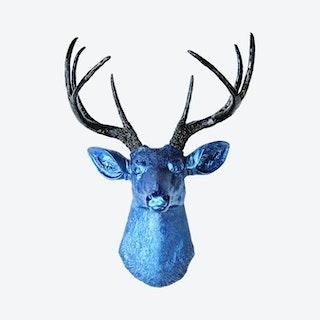 Faux Deer Mount - Metallic Blue / Black
