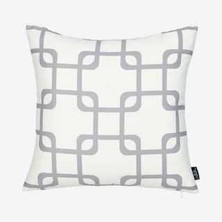 Geometric Square Throw Pillow Cover - White / Grey