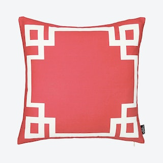 Geometric Square Throw Pillow Cover - Red / White