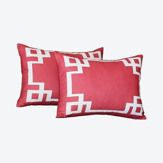 Geometric Rectangle Throw Pillow Covers - Red / White - Set of 2