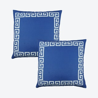 Geometric Greek Key Square Decorative Throw Pillow Covers - Blue / White - Set of 2