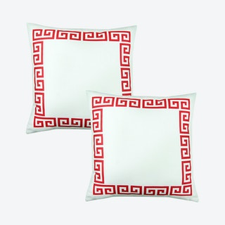 Geometric Greek Key Square Throw Pillow Covers - White / Red - Set of 2