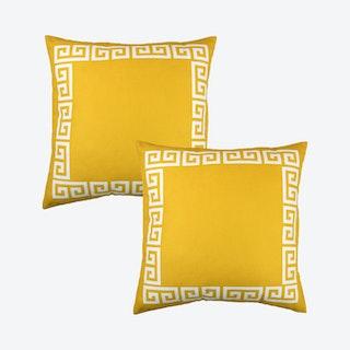 Geometric Greek Key Decorative Lumbar Throw Pillow Covers - Yellow / White - Set of 2
