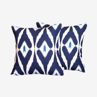Ikat Square Decorative Throw Pillow Covers - Navy - Set of 2