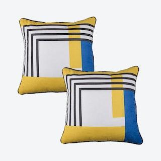 Scandi Geometric Stripes Square Throw Pillow Covers - Yellow / Blue / White - Set of 2
