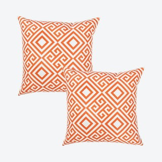 Tropical Greek Square Throw Pillow Covers - Orange - Set of 2