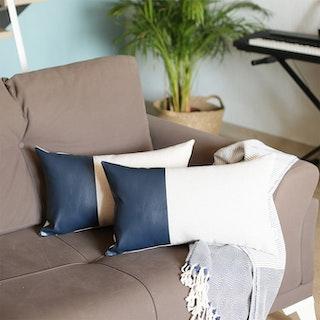 Decorative Lumbar Throw Pillow Covers - Navy / White - Set of 2