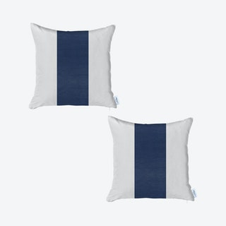 Square Decorative Throw Pillow Covers - Navy / White - Set of 2