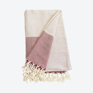 Geometric & Dots Handwoven Throw - Red