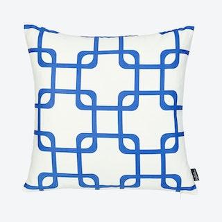 Geometric Square Throw Pillow Cover - White / Blue