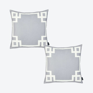 Geometric Square Throw Pillow Covers - Grey / White - Set of 2