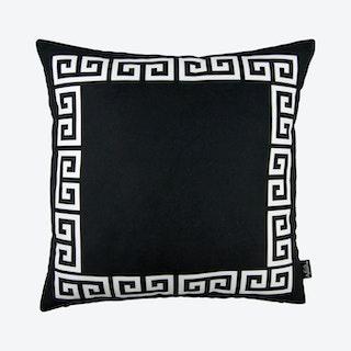 Geometric Greek Key Square Throw Pillow Cover - Black / White