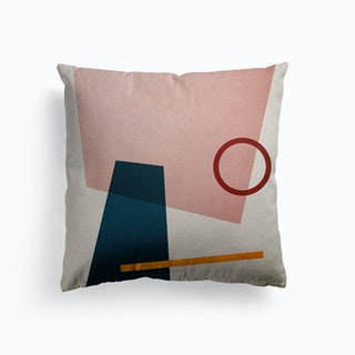 Conceptual Abstract Shapes Pink And Blue Canvas Cushion