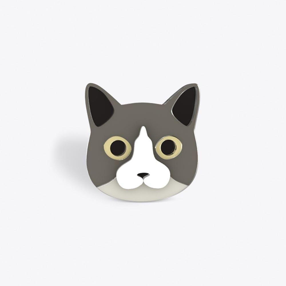 Grey Cat Brooch