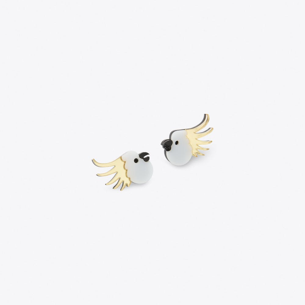 Cockatoo Earrings in White