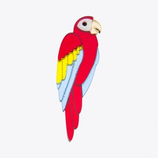 Large Parrot Brooch in Red