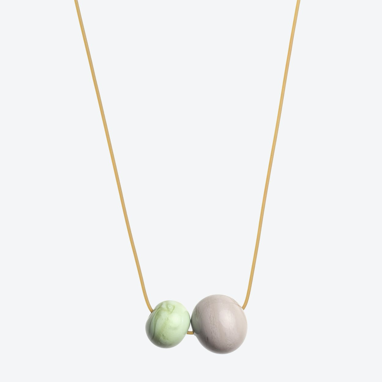 Double Bubble Necklace in Olive Green
