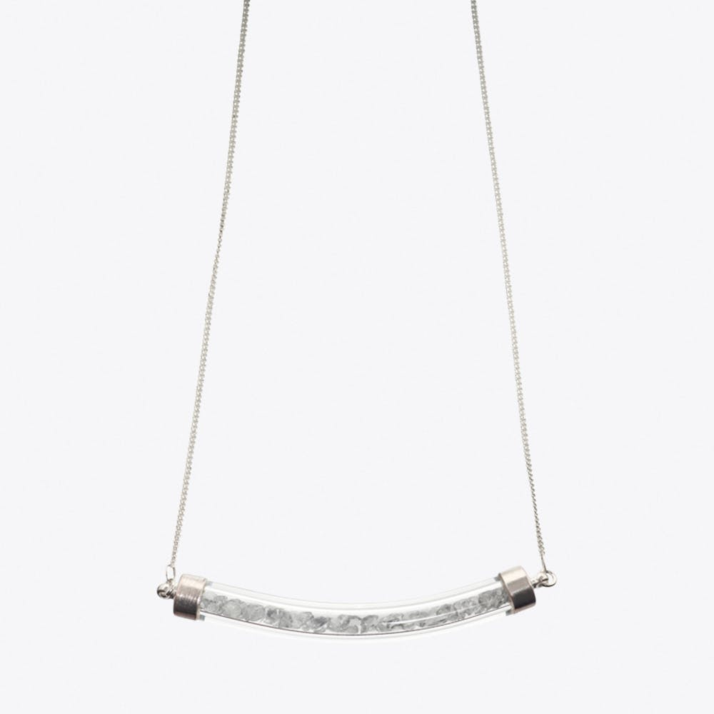 Crescent Necklace in Silver Grey