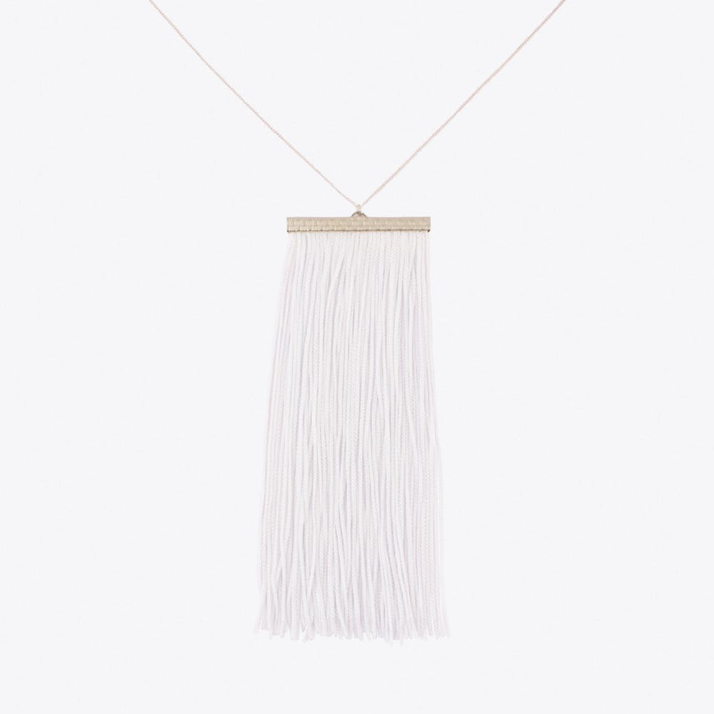Fringe Necklace in White & Silver