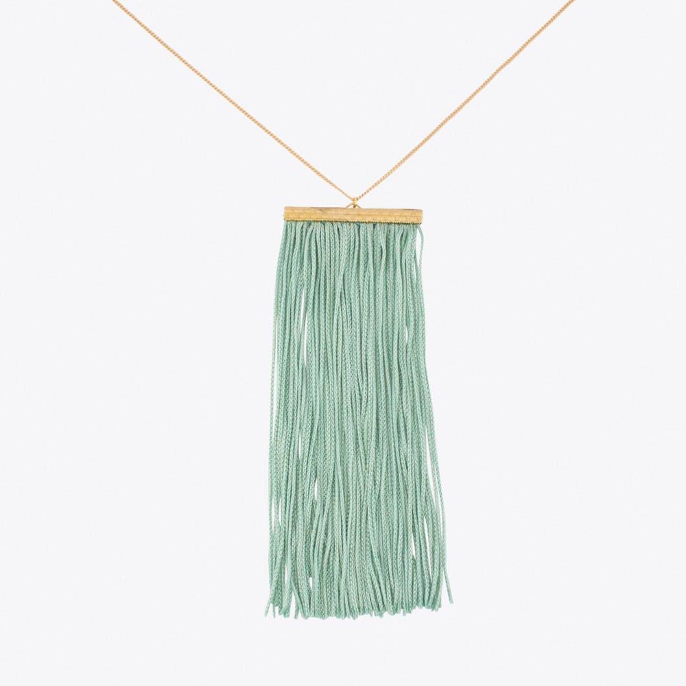Fringe Necklace in Teal & Gold