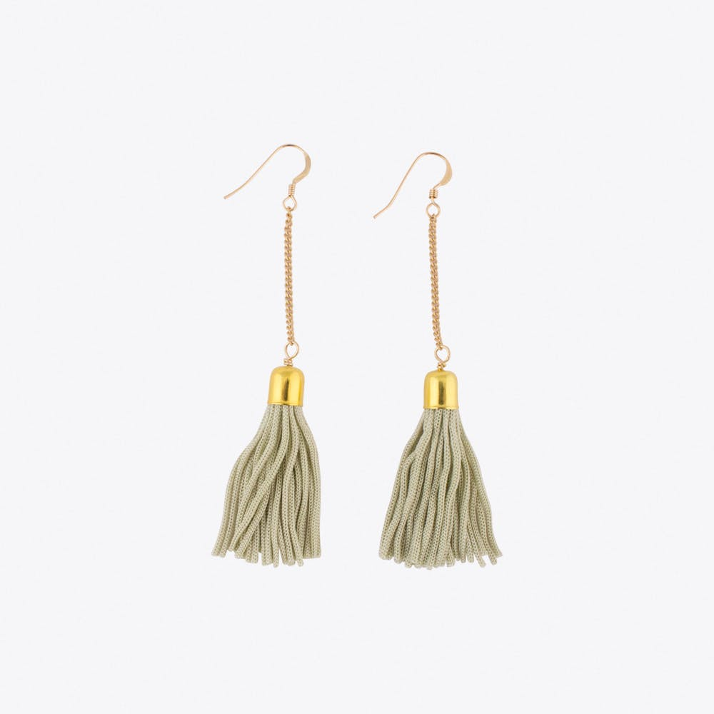 Drop Tassel Earrings in Mint & Gold