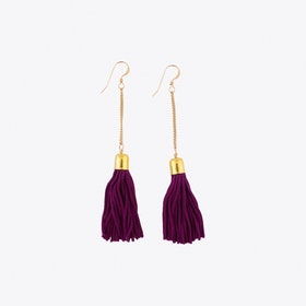 Drop Tassel Earrings in Purple & Gold