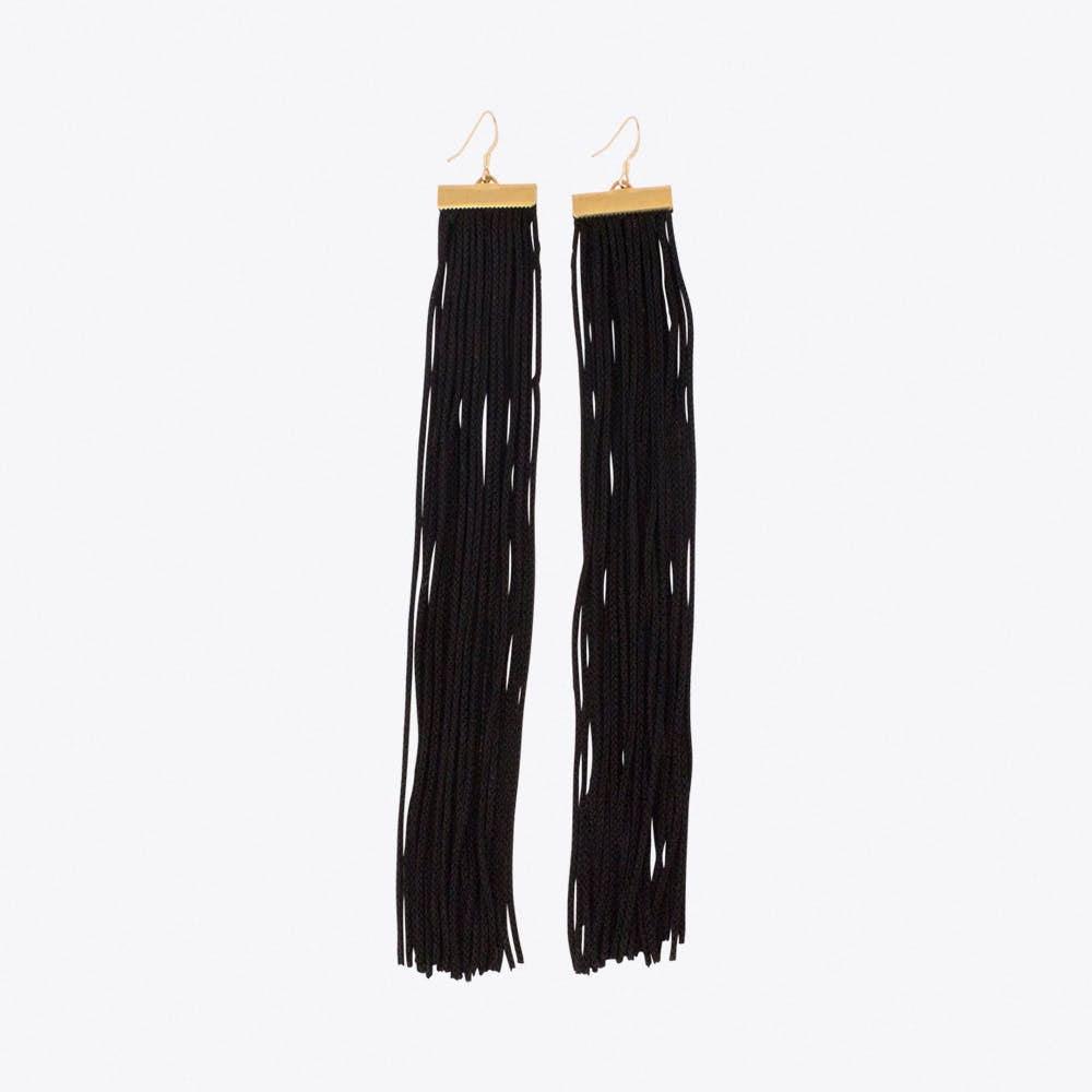 Wide Fringe Earrings in Black & Gold