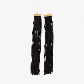 Wide Fringe Earrings in Black & Gold