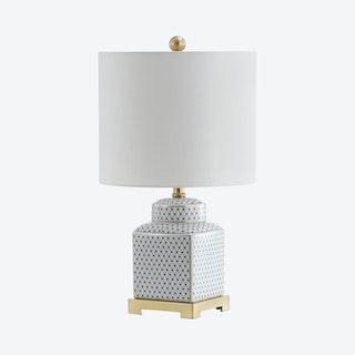 Cleo Ginger Jar LED Table Lamp - White / Black - Ceramic / Metal