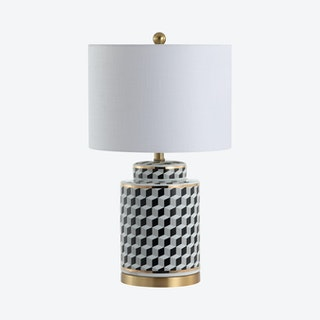 Ellie Tumbling Block LED Table Lamp - Black / White - Ceramic / Metal