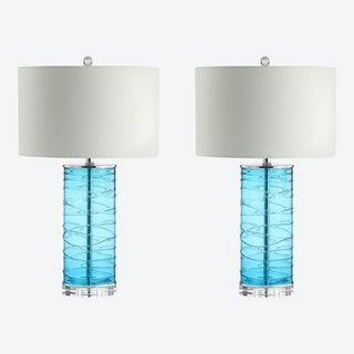 Cole Modern Fused Cylinder LED Table Lamps - Turquoise - Glass - Set of 2