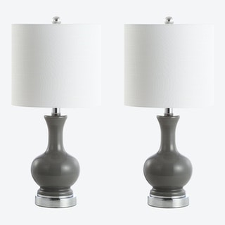 Cox LED Table Lamps - Grey - Metal / Glass - Set of 2