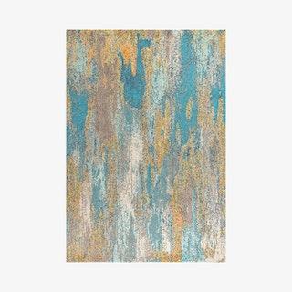 Pop Modern Abstract Vintage Waterfall Area Rug - Blue / Brown / Orange
