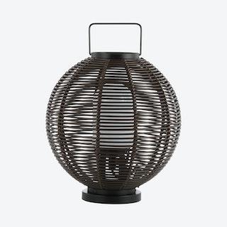 Jigu Outdoor Woven Globe Asian LED Lantern Lamp - Coffee - Metal