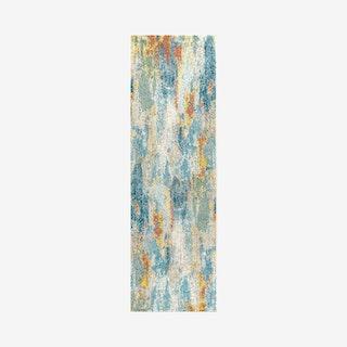 Pop Modern Abstract Vintage Waterfall Runner Rug - Blue / Cream / Yellow