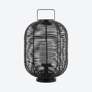 Kandella Outdoor Woven Oval Asian LED Lantern Lamp - Black - Metal