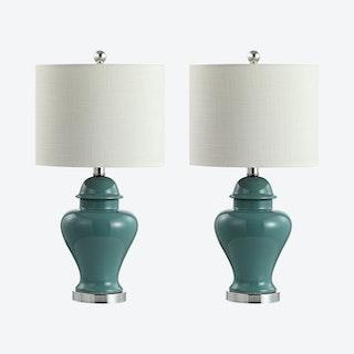 Qin Classic Cottage LED Table Lamp - Jade Green - Ceramic / Iron - Set of 2