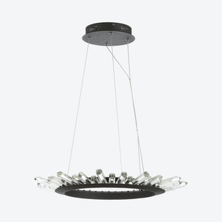 Elsa Adjustable Integrated LED Modern Pendant Lamp - Black / Clear - Metal / Crystal