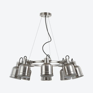 Liam 8-Light LED Pendant Chandelier Lamp - Nickel - Metal