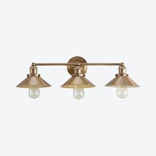 August 3-Light Vanity Light - Brass Gold - Metal