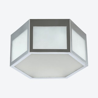 Moderno Hexagon LED Flush Mount Lamp - Chrome - Metal / Frosted Glass