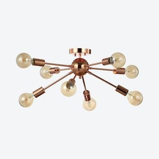 Copper 8-Light Sputnik LED Flush Mount Lamp - Copper - Metal