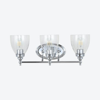 Marais 3-Light LED Wall Sconce Lamp - Chrome - Metal / Glass