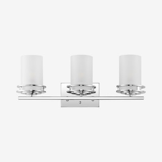 Fairfax 3-Light Contemporary Glam LED Vanity Light - Chrome - Metal / Frosted Glass