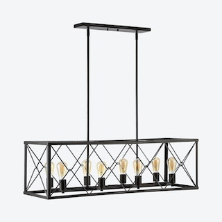 Galax 8-Light Adjustable Farmhouse Industrial LED Dimmable Pendant Lamp - Oil Rubbed Bronze - Iron