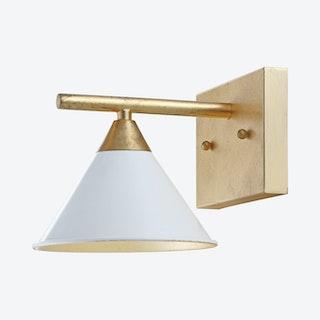 Yvette 1-Light Wall Sconce Lamp - White / Gold - Metal