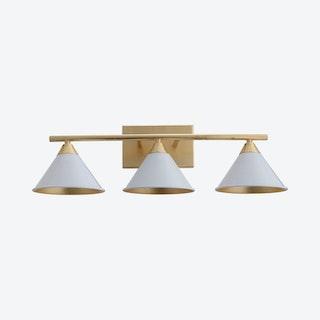 Yvette 3-Light Vanity Wall Light - White / Gold - Metal